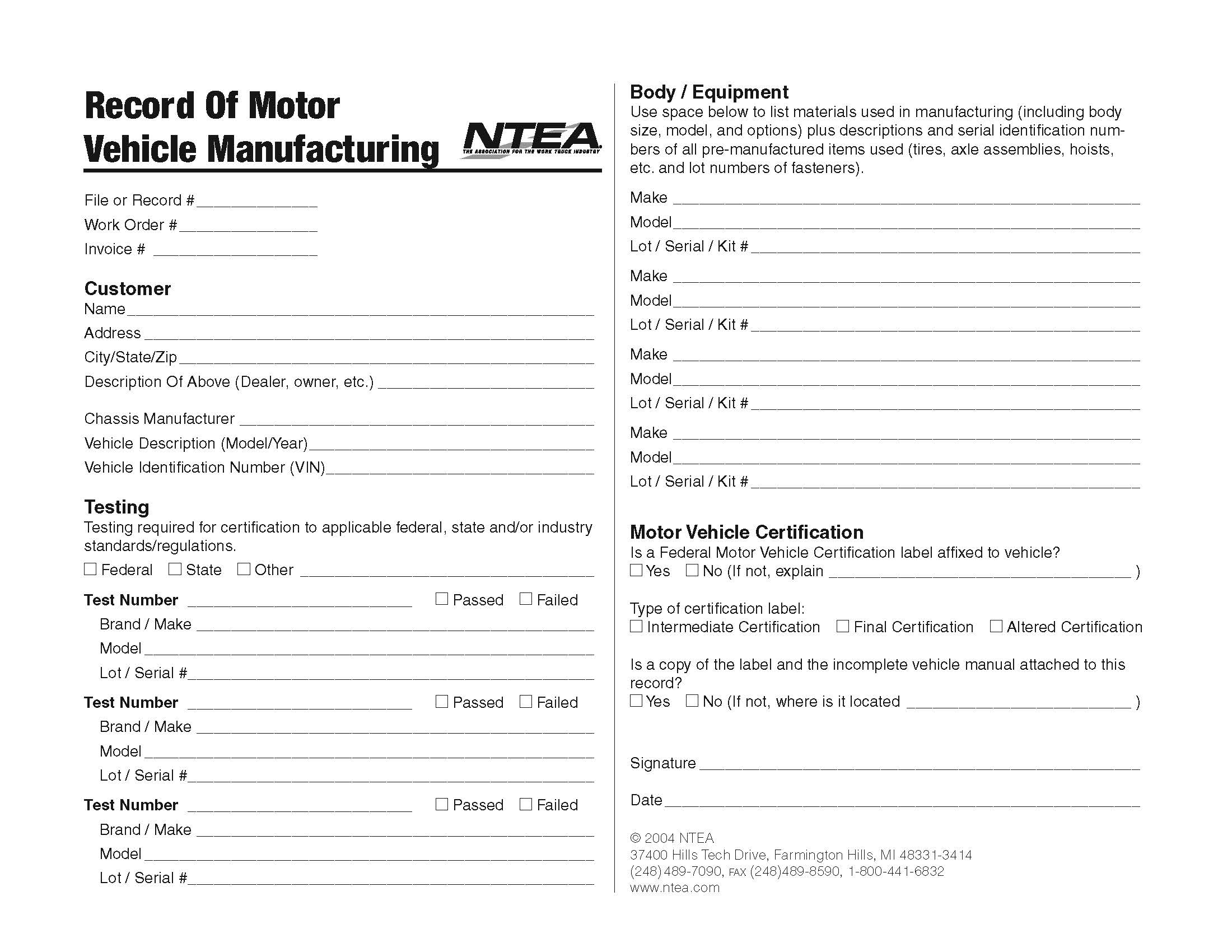 Record of Motor Vehicle Manufacturing Form