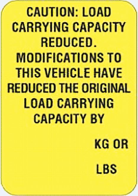 Load Carrying Capacity Modification (100 Labels/covers)